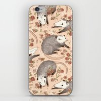 iPhone & iPod Skins featuring Opossum and Roses by Gwendolyn Wood