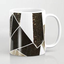 Modern Rustic Black White and Faux Gold Geometric Coffee Mug