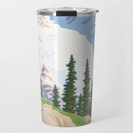 Vintage Mount Rainier Travel Poster Travel Mug