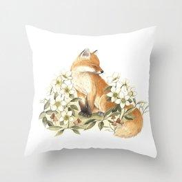 Springtime Fox Throw Pillow