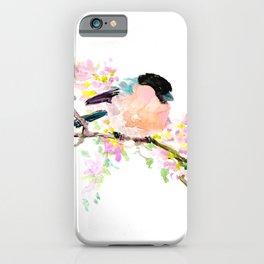 cute bird art, Bullfinch and Spring iPhone Case