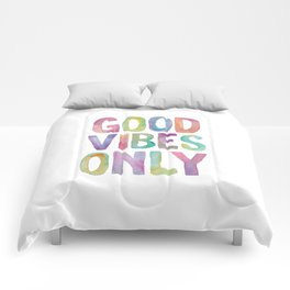 Good Vibes Only Watercolor Rainbow Typography Poster Inspirational childrens room nursery Comforters