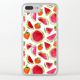 Watercolor watermelon and strawberries fruit illustration Clear iPhone Case