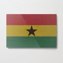 Ghana Stone Wall Flag Metal Print