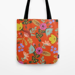 Funky Red Floral Tote Bag