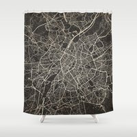 brussels Shower Curtains featuring brussels map ink lines by NJ-Illustrations