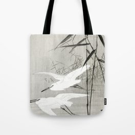 Egrets flying over the swamp - Japanese vintage woodblock print art Tote Bag