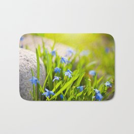 Scilla siberica flowerets named wood squill Bath Mat