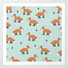 Cute fall woodland smiling foxes illustration pattern Art Print