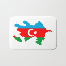 Azerbaijan flag map Bath Mat