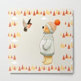 Warm Winter Bear Metal Print