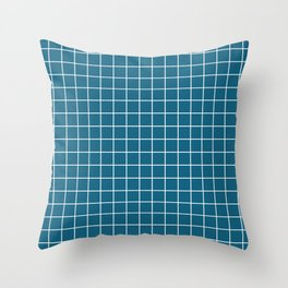 Blue sapphire - blue color - White Lines Grid Pattern Throw Pillow