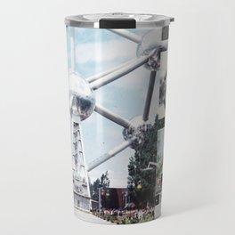 Vintage Atomium Brussels Photo Collage Travel Mug