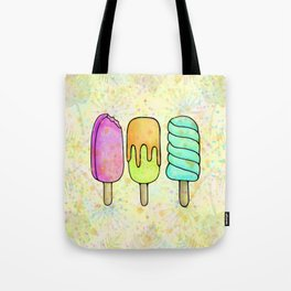 Popsicle Party Watercolor Painting, Yummy Rainbow Icecream Fun Tote Bag
