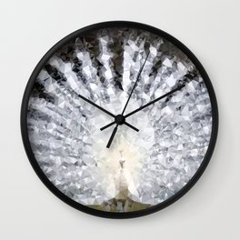 White Peacock Low Poly Geometric Triangles Wall Clock