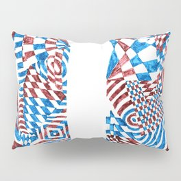 Striped Fish, Red/Blue Abstract Design (Ink Drawing) Pillow Sham