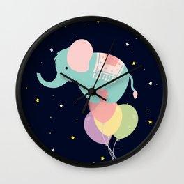 Elephant and Balloons At night , nursery decor , Wall Clock