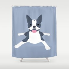 blue boston terrier Shower Curtain