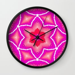 Abstract Star Flower - Fuchsia and Red Wall Clock