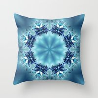 snowflake Throw Pillows featuring Snowflake by Mr. Pattern Man
