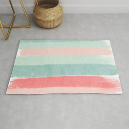 Stripes painted coral minimal mint teal bright southern charleston decor colors Rug