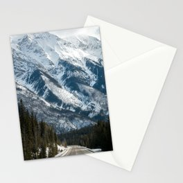 snow capped mountains Stationery Cards