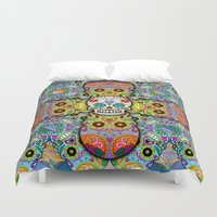 sugar skulls Duvet Covers featuring Sugar Skulls by Spooky Dooky