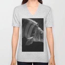 Clown Fish (Black and White) Unisex V-Neck