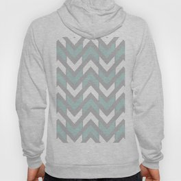 Grey, Mint Green & White Chevron Stripes Hoody