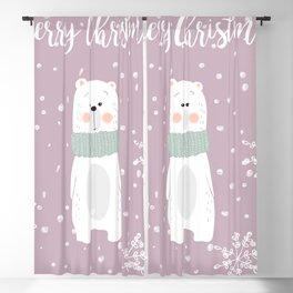 Cute Polar Bear Pink Blackout Curtain