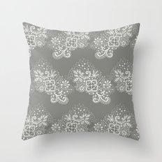 White on Grey Lace Throw Pillow