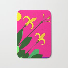 Yellow Lilies with the Sun in the Pink Sky Bath Mat