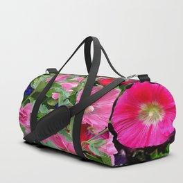 DECORATIVE PINK & RED GARDEN HOLLYHOCKS Duffle Bag
