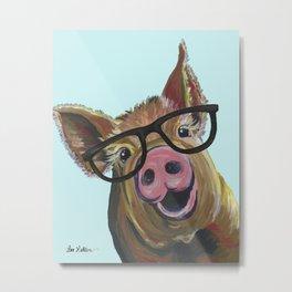 Cute Pig, Pig Art, Farm Animal Metal Print