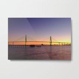Arthur Ravenel Jr. Bridge in Charleston, South Carolina USA during sunset. Metal Print