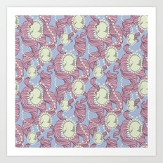 Cameo & Trailing Hair // Pink & Blue Pastels Art Print