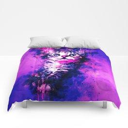 pianca baby cat kitten splatter watercolor purple pink Comforters