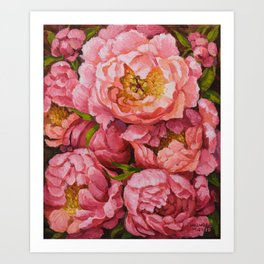 Peony Bouquet oil painting, Botanical flowers print Art Print