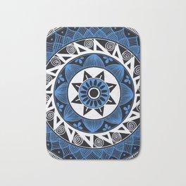 Blue and White Mandala Bath Mat