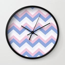 Blue Pink Chevron Wall Clock