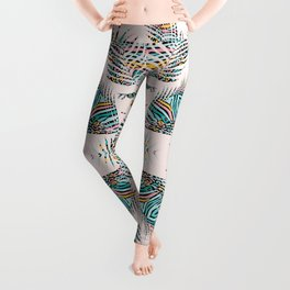 Colorful Boho Plants and Feathers / Peacock Green Leggings