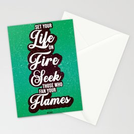 Set your life on fire 02- Rumi Quote Stationery Cards