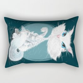 Catarday Night - white cat Rectangular Pillow