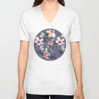 indigo V-neck T-shirts featuring Butterflies and Hibiscus Flowers - a painted pattern by micklyn