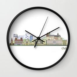 Oslo skyline colored Wall Clock
