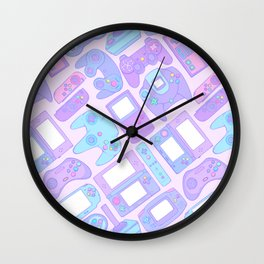 Video Game Controllers in Pastel Colors Wall Clock