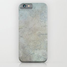 French Blue Vintage Wallpaper iPhone Case