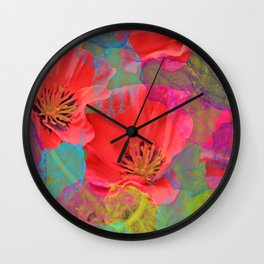 Vintage Poppies 12 Wall Clock