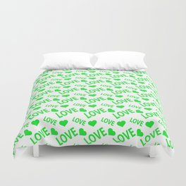 Love Heart Green Duvet Cover
