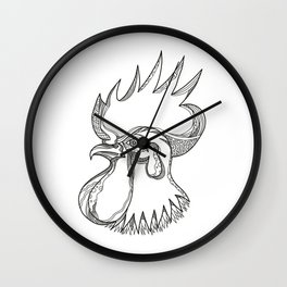 Junglefowl Head Doodle Art Wall Clock